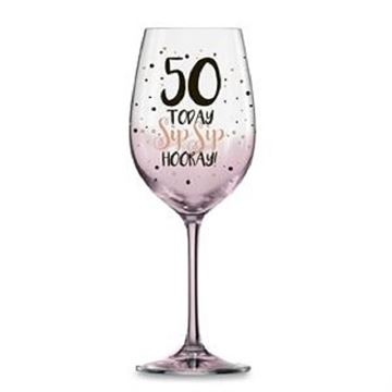Picture of 50 pink sip sip hooray w/glass