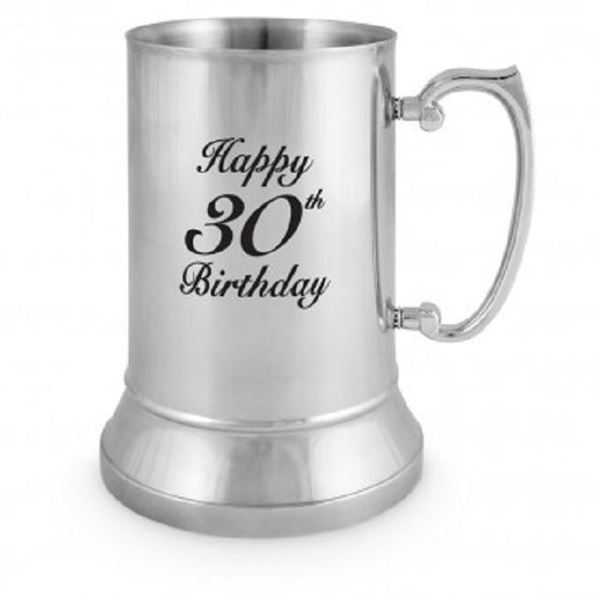Picture of 30th stainless steel beer mug