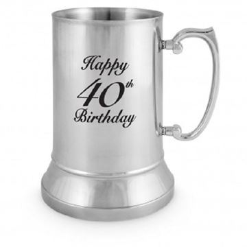 Picture of 40th stainless steel beer mug
