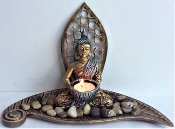 Picture of Buddha gold candle holder leaf