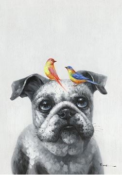 Picture of Birdy two and dog 30x40