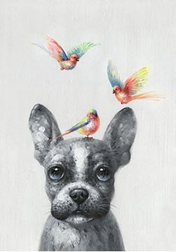 Picture of Birdy three and dog 30x40