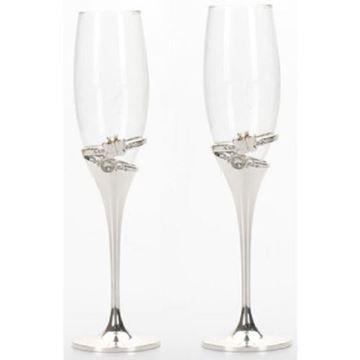 Picture of Champagne glasses b/fly rings