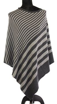 Picture of Grey stripe merino wool poncho