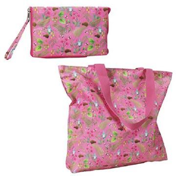 Picture of Bag zip folding flowers pink