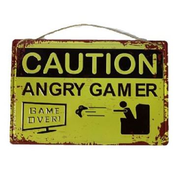 Picture of Caution angry gamer metal art