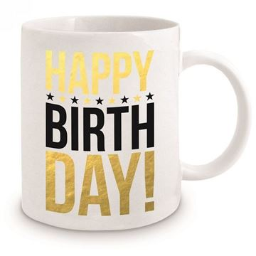 Picture of Happy birthday gold mug