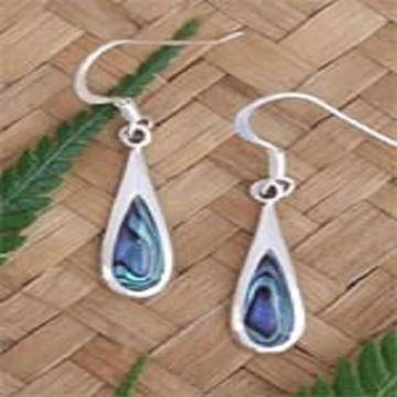 Picture of Silver paua hook earrings