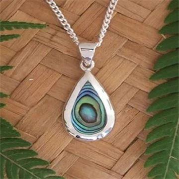 Picture of Silver paua pendant teardrop