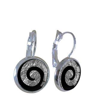 Picture of Silver leaf koru earrings