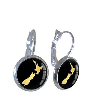 Picture of NZ map gold bronze earrings