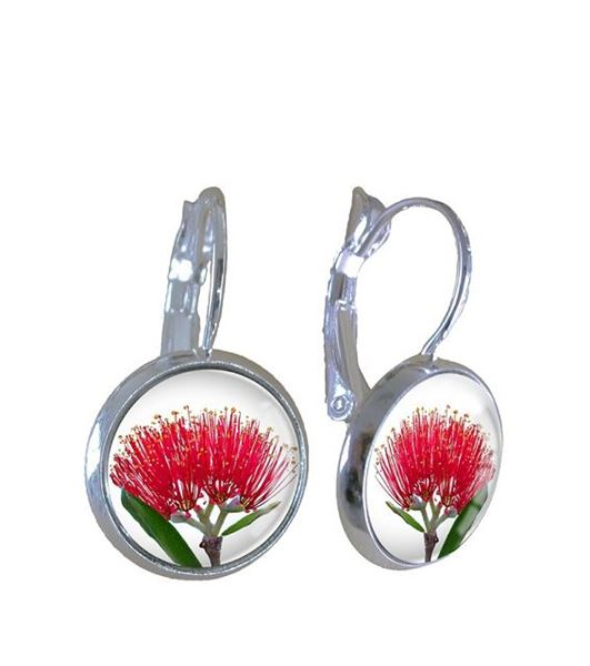 Picture of Pohutukawa on white earrings