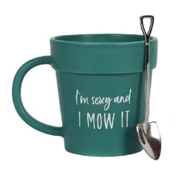 Picture of Im sexy & I mow it pot mug
