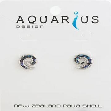 Picture of Paua inlay koru earrings