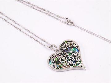 Picture of Fern heart paua long pendant