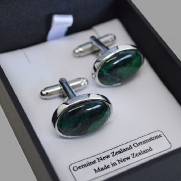 Picture of Greenstone cufflinks oval slvr