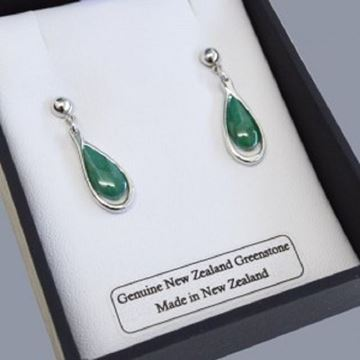 Picture of Greenstone earrings silver