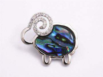 Picture of Paua koru sheep brooch