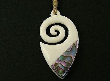 Picture of Koru bone/paua pendant