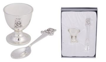 Picture of Silver bear egg cup & spoon