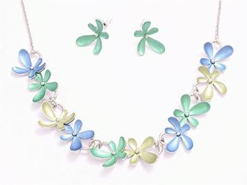 Picture of Blue/green flowers pendant set