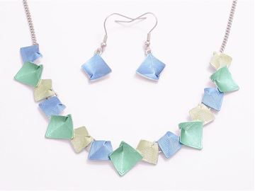 Picture of Blue/green beads pendant set