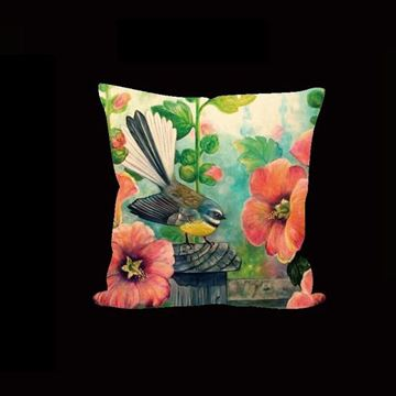 Picture of Fantail orange cushion cover