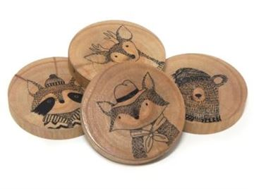 Picture of S/4 cozy  creatures coasters