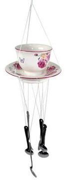 Picture of Victorian rose ceramic cup windchime