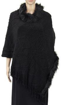 Picture of Black fur collar poncho