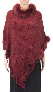 Picture of Wine fur collar poncho