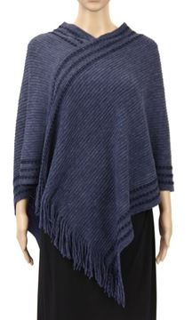 Picture of Navy diagonal border poncho