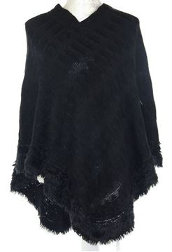 Picture of Black fluffy edge poncho