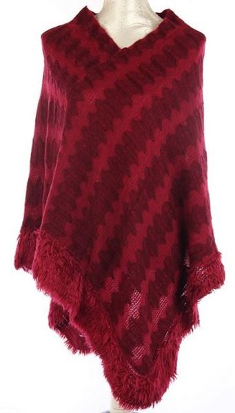 Picture of Wine fluffy edge poncho