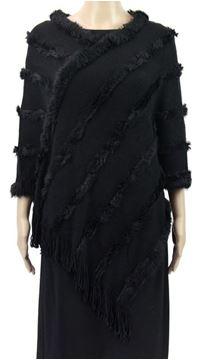 Picture of Black poncho fur trim lines