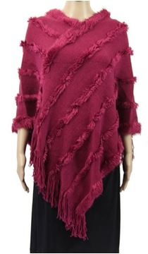 Picture of Magenta poncho fur trim lines