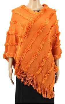 Picture of Orange poncho fur trim lines