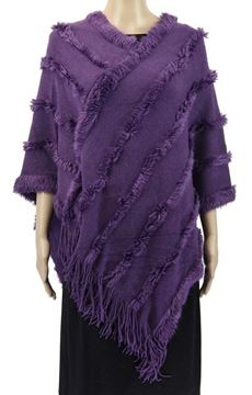 Picture of Purple poncho fur trim lines