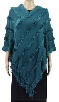 Picture of Teal poncho fur trim lines