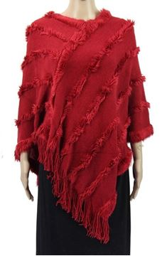 Picture of Wine poncho fur trim lines