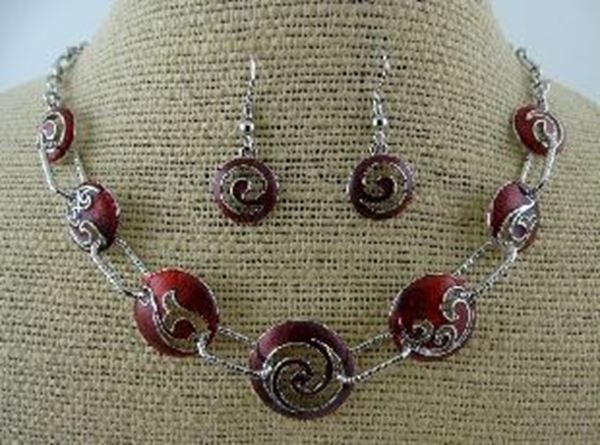 Picture of Red koru hook fern necklace