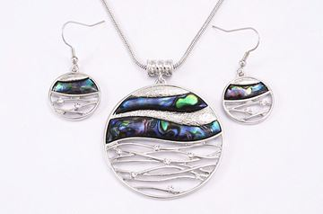 Picture of Paua wave pendant set