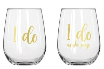 Picture of I do stemless wine glass set