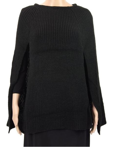 Picture of Black front slits poncho