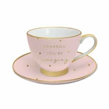 Picture of Grandma pink/gold teacup
