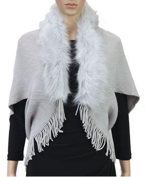Picture of Grey fur trim cape jacket
