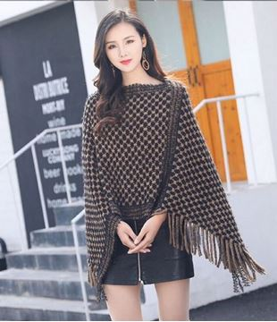 Picture of Coffee geometric poncho