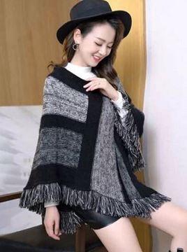 Picture of Black stripe panel poncho