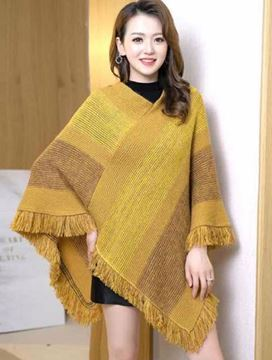 Picture of Mustard stripe panel poncho
