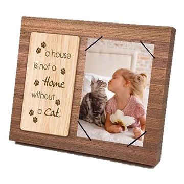 Picture of Cat wooden frame 4x6